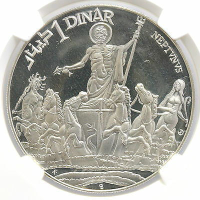Tunisia Sterling Silver Dinar 1969 Franklin Mint NGC PF67UC Neptune