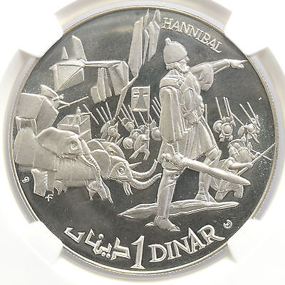 Tunisia Sterling Silver Dinar 1969 Franklin Mint NGC PF68UC Hannibal