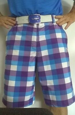GET THE RICKY FOWLER LOOK Puma Golf CELL Men's Shorts BLUE/WHITE/PURPLE  Size:32