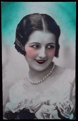 Nice Vintage French Postcard of Pretty Girl Posted from Egypt to Amsterdam c1920