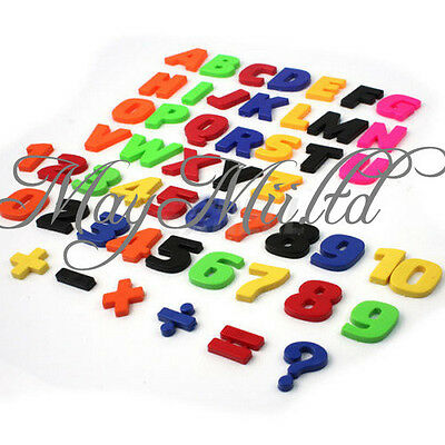 Set Of 52 Colorful Teaching Magnetic Letters & Numbers Fridge Magnets Alphabet @