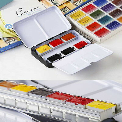 12 Half Pans Palette Case Iron Box For Watercolor Oil Artist Drawing Painting #Z