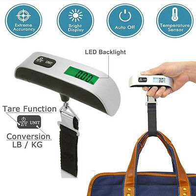50kg/10g Weight LCD Display Portable Electronic Travel Hanging Luggage Scale USA