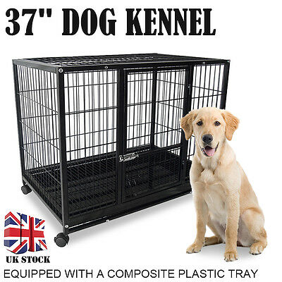 Heavy Duty Black 37'' Dog Crate Cage Kennel Metal Wire Pet Playpen with Tray