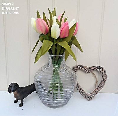 Bunch of Pink & White Tulips,Real Touch Leaves Artificial Silk Flowers,12 Stems.