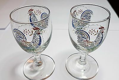Pair of 1950's stemmed novelty sherry/liquer glasses with cockerel design