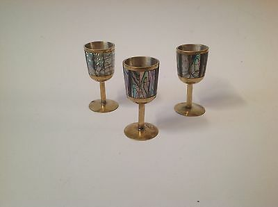 Vintage Brass / Abalone/ Mother of Pearl/ Shot Glasses set of  three (3)