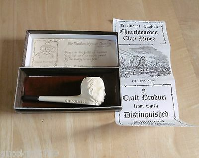 Vintage Pilgrim Pipe Co Churchwarden Clay Pipe - Winston Churchill (Boxed)