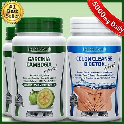 3 Bottles Garcinia Cambogia Advanced HCA 95% Colon Cleanse Detox Diet WeightLoss