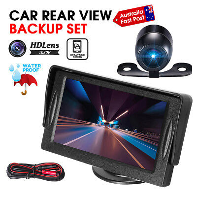 "Waterproof Rear View Kit 4.3"" TFT LCD Monitor + Car Reversing Parking Camera AU"
