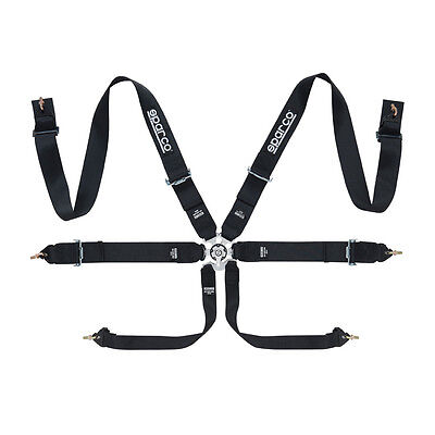"""PAIR x2 Sparco FIA Approved 6 Point 2""""/3"""" Club Racer Harness Black (Used Twice)"""
