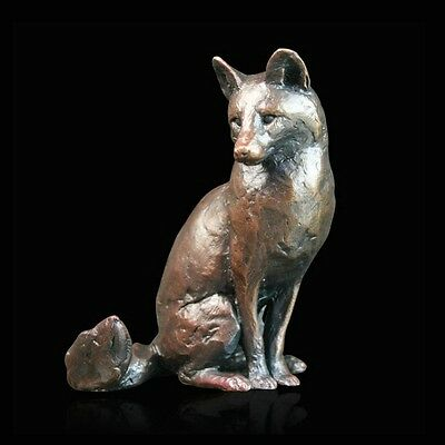 Fox Sitting Solid Bronze Foundry Cast Sculpture by Michael Simpson (779)