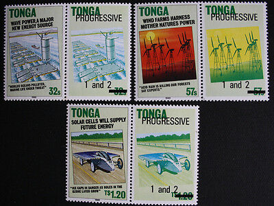 Tonga 1990 Electricity Sources Set with PROGRESSIVE 1 & 2 Labels SG1069/7 MNH/UM