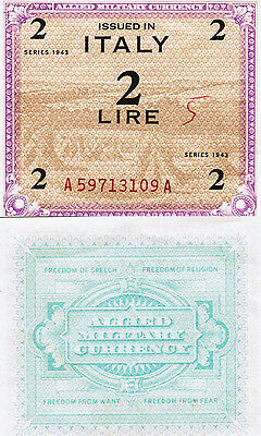 2 Lire Issued In Italy Series 1943 Allied Military Currency