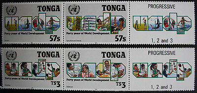 Tonga 1990 United Nations Set with PROGRESSIVE 1,2 & 3 Labels SG1109/1 MNH/UM