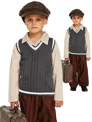 Evacuee School Boy Costume  10-11 / 11-12 years  WW2 Fancy Dress World Book Day