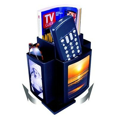 Spinning TV and Desk Organizer with Picture Frame. The perfect remotes stand.