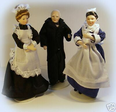 Dolls House Dolls -set of 3 Victorian Servants 1:12 Miniature Accessory