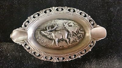 Antique Sterling Silver Cigar Ashtray ~ Buck & Doe~ 34.75 DWT