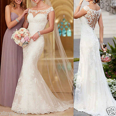 New Formal White/Ivory Lace Wedding Dress Ball Gowns Custom Size 4 6 8 10 12 18+