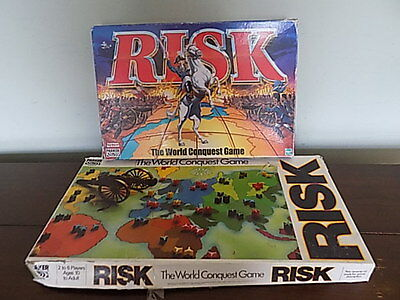 2 Games Of  Risk 1985 & 2000~The World Conquest Game By Parker~Hasbro~Used