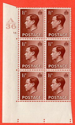 SG. 446. N59. 5d Yellow-Brown. A fine mint block of 6. Control Z36. Cylinder 5.
