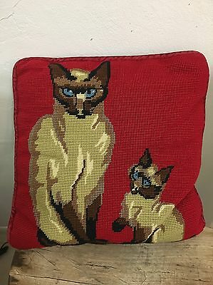 "Blue eyes SIAMESE CATS  Pillow Vintage Needlepoint Deep Red 11"" Square"