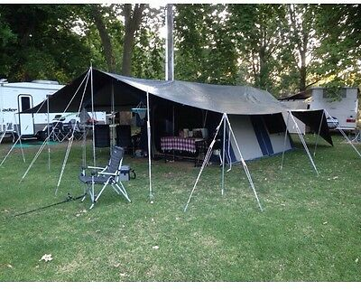 OZtrail 12x15 Canvas Cabin 12 Man / Person Camping Tent, Tarp, Poles & Ropes