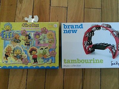 Brand New Fifi and the Flowertots Jigsaws & a Sue Ryder Tambourine