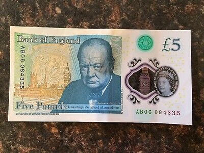 New Bank of England Five Pound Note -£5. Serial AB06