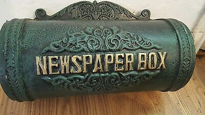 Large Solid Cast Iron Mounted  Newspaper Box