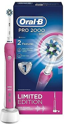 Oral-B Pro 2000 Pink Rechargeable Electric Toothbrush-Limited Edition- Brand New