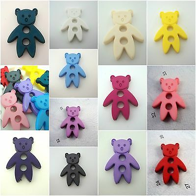 B508 30x22mm 3pcs LARGE TEDDY BEAR ITALIAN PLASTIC TOGGLE BUTTONS-CHOOSE COLOUR