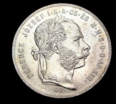 1879 KB Hungary Forint Silver Coin Looks Unc Km #453.1