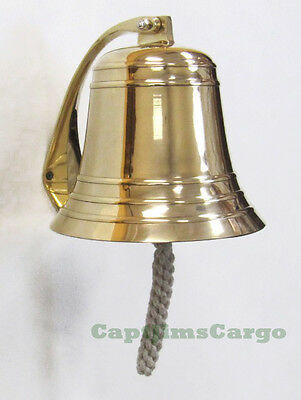 "Large Heavy Nautical Solid Cast Brass Ships Boat Bell 8.25"" Marine Decor"