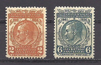 Philippines , Usa , 1936 , Jose Rizal , Set Of 2 Stamps  ,  Perf, Mnh