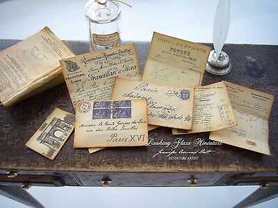 French Antique Letter Set Separate Pieces for Dollhouse 1/12 Scale
