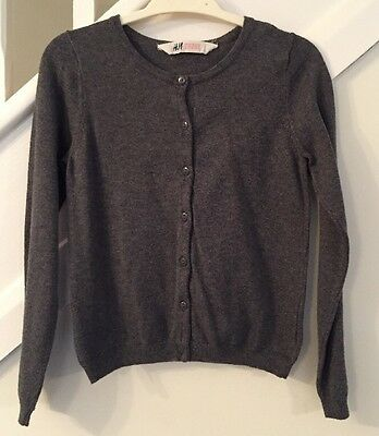 H&M Girls Grey Cardigan - Age 6-8 Years - Excellent Condition
