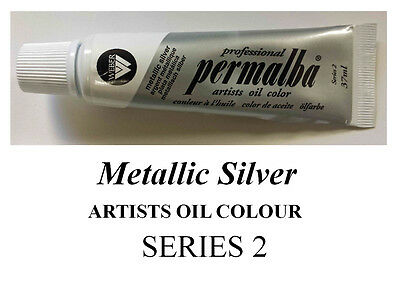 PERMALBA ARTISTS OIL COLOUR 37ml TUBE  METALLIC SILVER SERIES 2 DUCKPOND