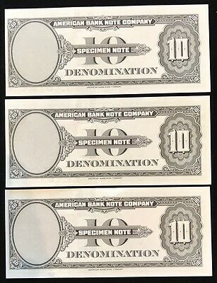 Lot of 3 - 1929 American Banknote Company Specimen Note Test Note - $10
