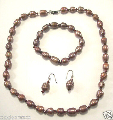 Rare Peacock Baroque Freshwater Pearl Necklace, Bracelet & Earrings Set Jewelry