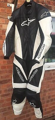 Alpinestars Reactor One Piece Motorcycle Leathers Black White USA 42 Or EUR 52