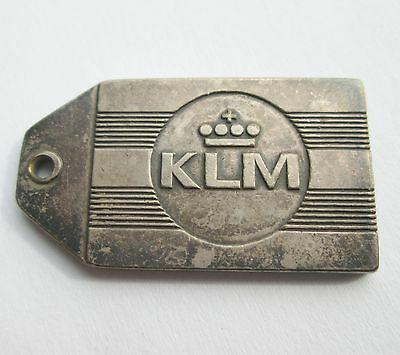 Vintage Holland Klm Royal Dutch Airlines Silver Plated Brass Tag Fob