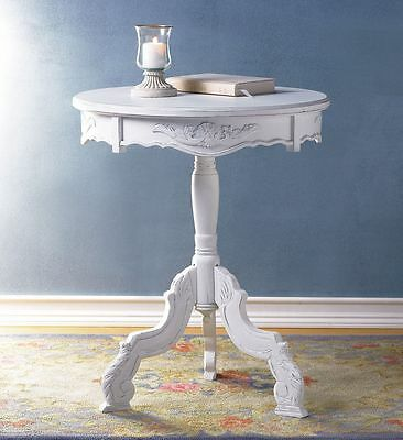Cottage Chic Shabby Elegant Distressed White Wood Round Accent Table Romantic