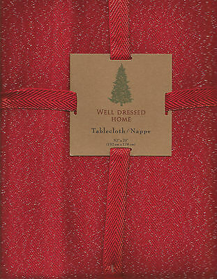 """WELL DRESSED HOME RED SHIMMER SPARKLE 52""""x 70"""" TABLECLOTH"""