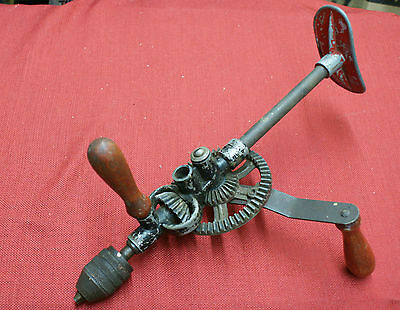 Vintage Old Tool Hand Crank Cast Iron Drill With Knee Brace