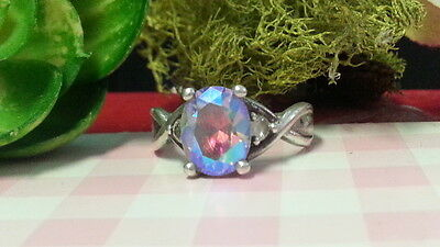 Beautiful Rainbow Cubic Zirconia Sparkles Ring 925 Sterling Silver *Size 8 *F562