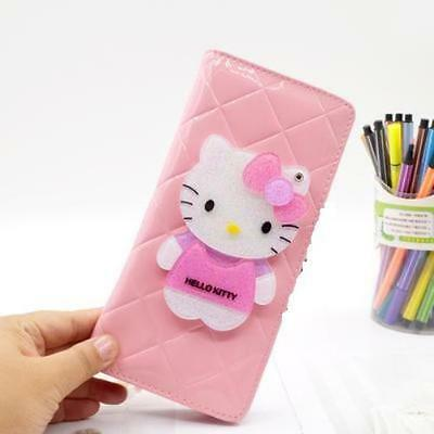 Hello Kitty Body Long Wallet Purse Bag with Slides Mirror Pink KK886