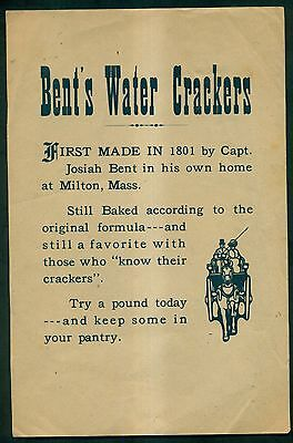 1890's Bent's Water Crackers Advertising Broadside - Milton,MA
