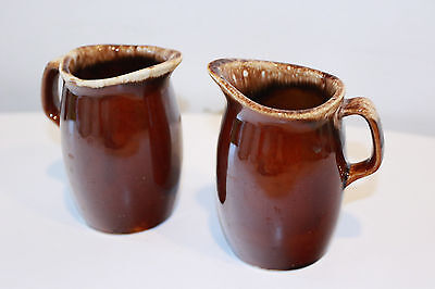 Two Brown Drip Oven Proof Creamers